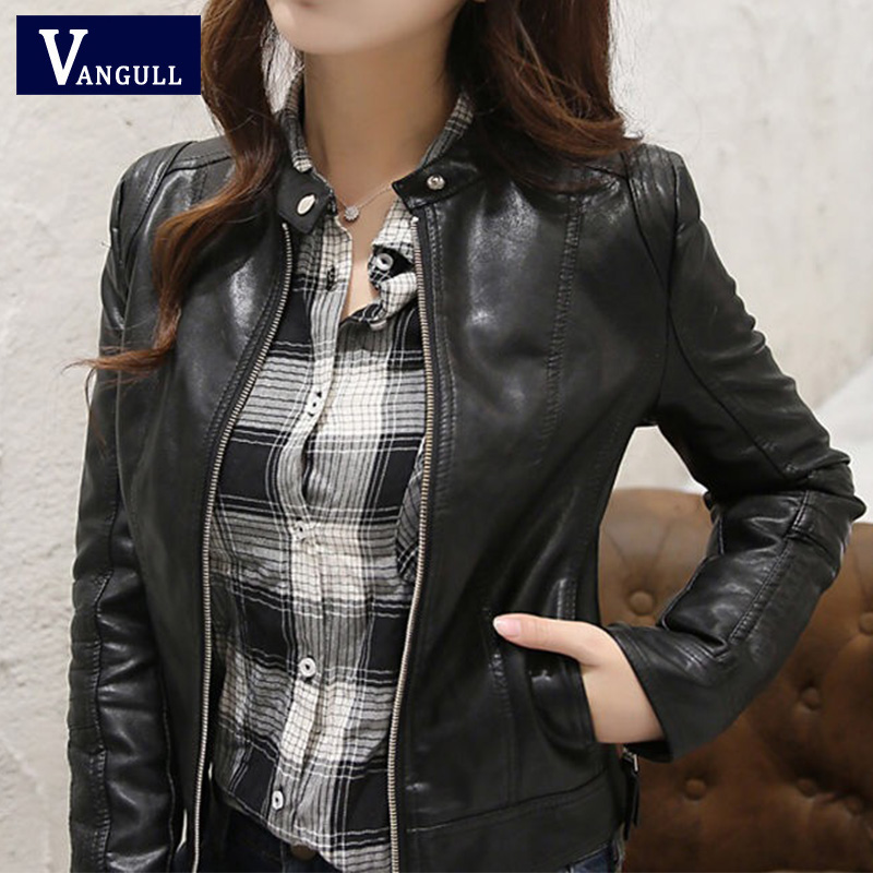 Vangull New Women Spring Autumn Pu Leather Jacket Casual Slim Soft Moto Biker Faux Leather Jacket Female Coat Basic Streetwear