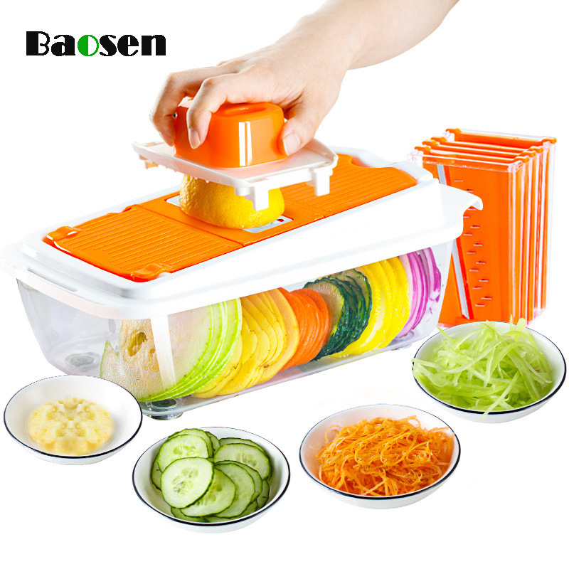 Baosen hachoir à légumes multifonction avec 5 lames en acier coupe-pommes de terre Mandoline trancheuse fruits légumes outils Gadgets de cuisine