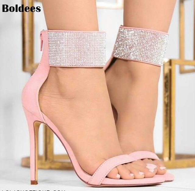3639df5b61107e 2018 Woman Sandals High Heel Shoes Rhinestones Gladiator Chaussure Plus  Size 43 tenis feminino Crystal Sandals