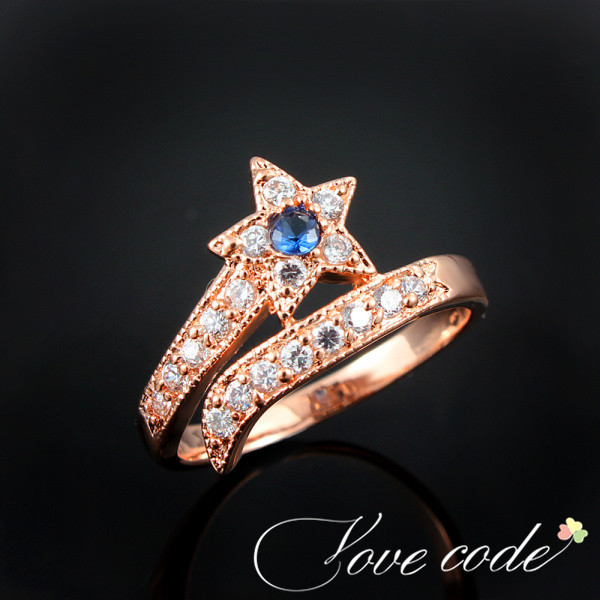 2014 Fashion Star Shaped Ring Rose Gold Plated Rings Multicolor