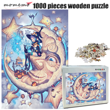 MOMEMO The Moon Maid Wooden 500/1000 Pieces Jigsaw Puzzle Exquisite Painting for Adult 1000 Game Toys Gifts