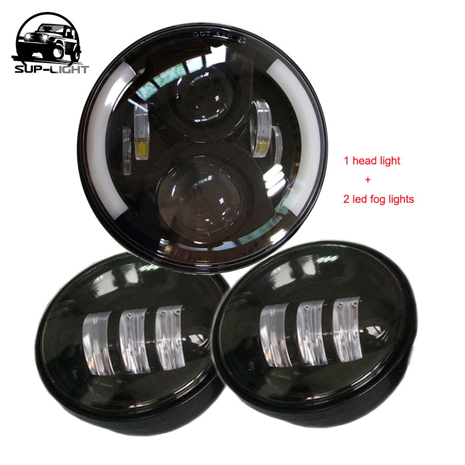 Black 7 inch 60W led Headlight with Halo ring DRL +2x 4.5 inch LED fog lamps for Harley Motorcycle
