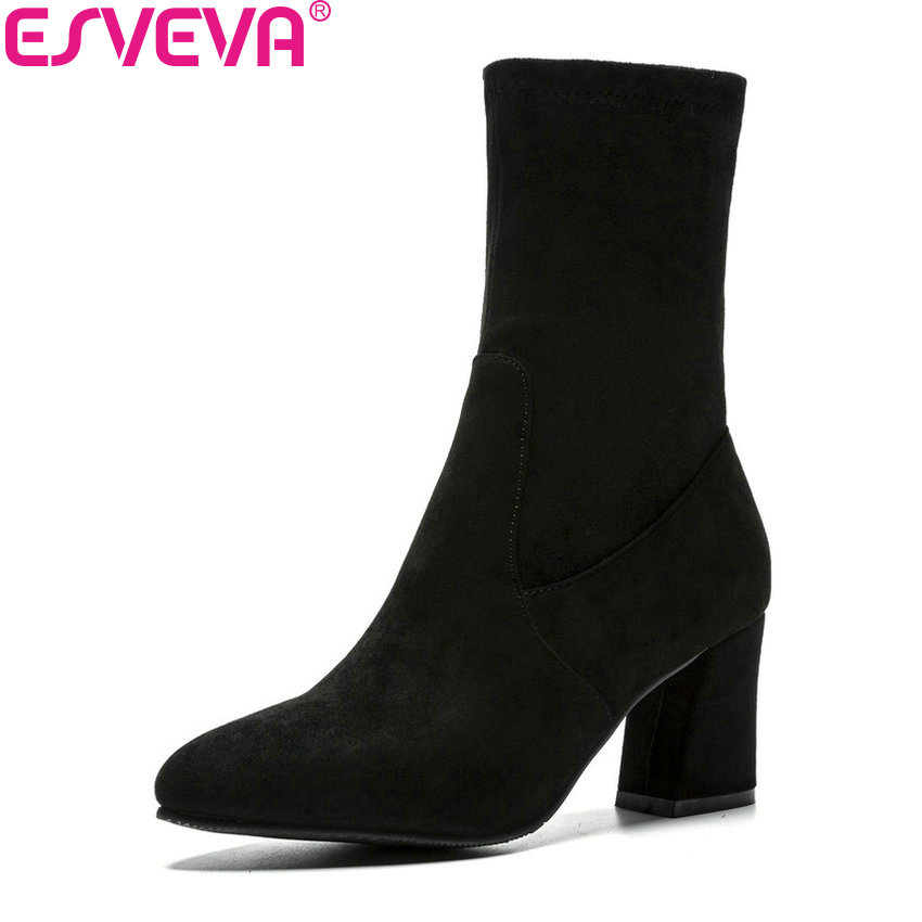 ESVEVA 2019 Women Shoes Round Toe Square High Heels Ankle Boots Shoes Slip on Flock Synthetic Autumn Woman Boots Size 34-43 esveva 2019 ankle boots for women shoes round toe square high heels synthetic woman boots shoes autumn ladies boots size 34 39