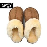 Millffy 2018 new Comfortable Sheepskin new home wool slippers man slipper fur fashion Korean indoor air winter slippers