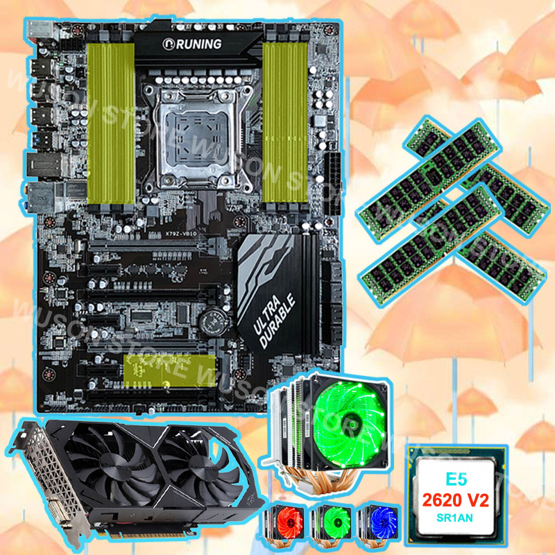 Buy good brand Runing super X79 motherboard with CPU Xeon 2620 V2 2.1GHz with cooler RAM 4*16G 1600 RECC video card GTX1050TI 4G|Motherboards| |  - title=