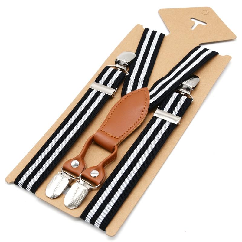 Kind Hosenträger Unisex Striped Spandex Hosen Gürtel Elastische Verstellbare Clip-on-klammer Für Kinder Suspensorio 2,5*65 Cm 10 Farben