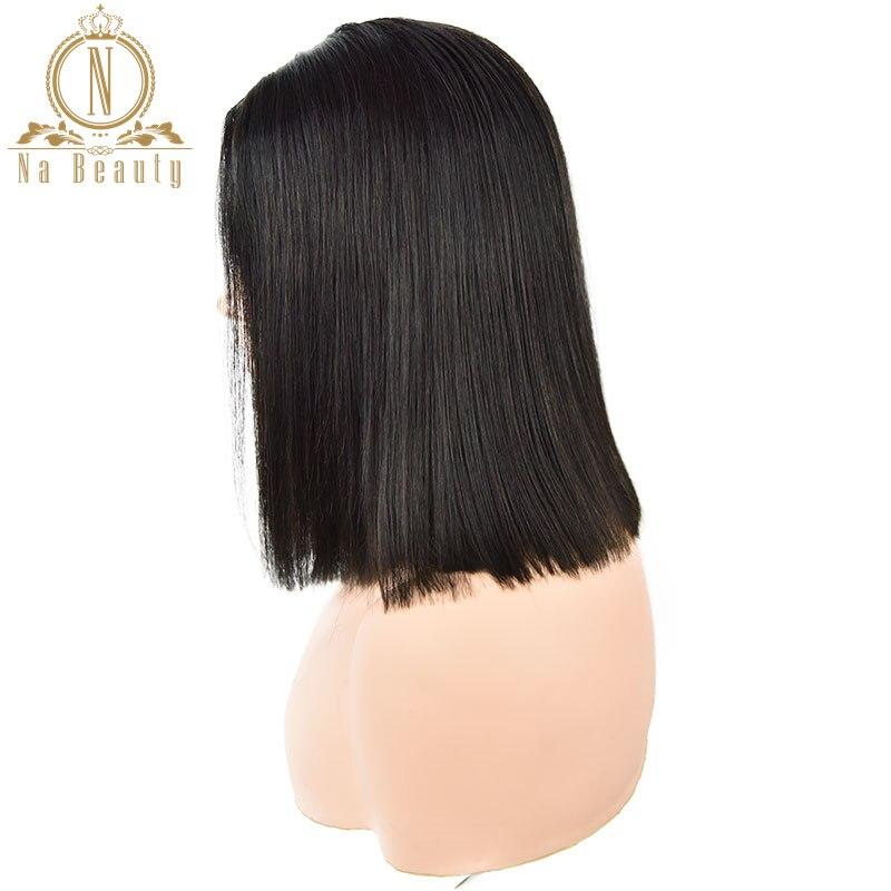Droite U partie perruques cheveux humains court Bob perruque sans colle 2 x 4 milieu partie 150% pour les femmes cheveux naturel noir couleur Remy Nabeauty - 6