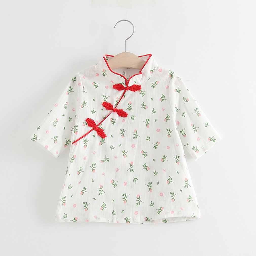 幼児女の子中国古典ローズ袍ドレス綿半袖ドレスパーティー衣装