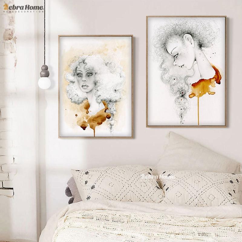 그리기 소녀 스케치 캔버스 아트 인쇄 포스터 현대 추상 사진 여자 방 홈 장식 벽 예술 프레임