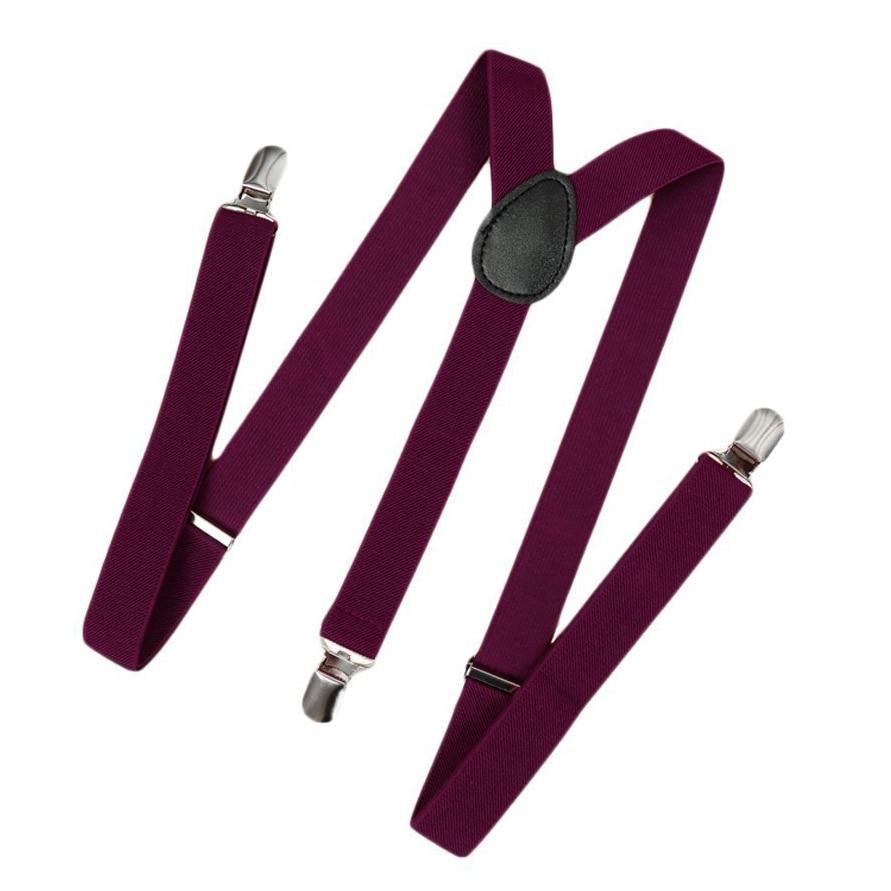 Unisex Clip On Suspender Elastic Y-Shape Back Formal Adjustable Braces, Red Wine