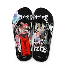 Free Shipping Cartoon Animation One Piece All Black Summer Style Flip Flops  Women Men 010