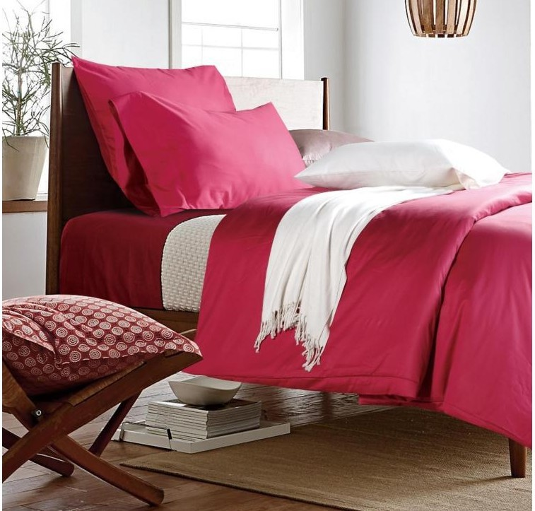 luxury 100 egyptian cotton solid coral coral red bedding