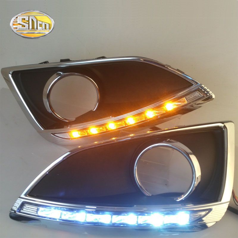 SNCN Super bright Waterproof car light 12V LED DRL Daytime Running Lights with fog lamp hole For Hyundai IX35 2009 2013