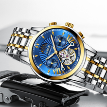 LIGE Water Ghost Series Classic Gift Blue Dial Luxury Men Automatic Watches Stainless Steel 100m Waterproof Mechanical Watch Hot