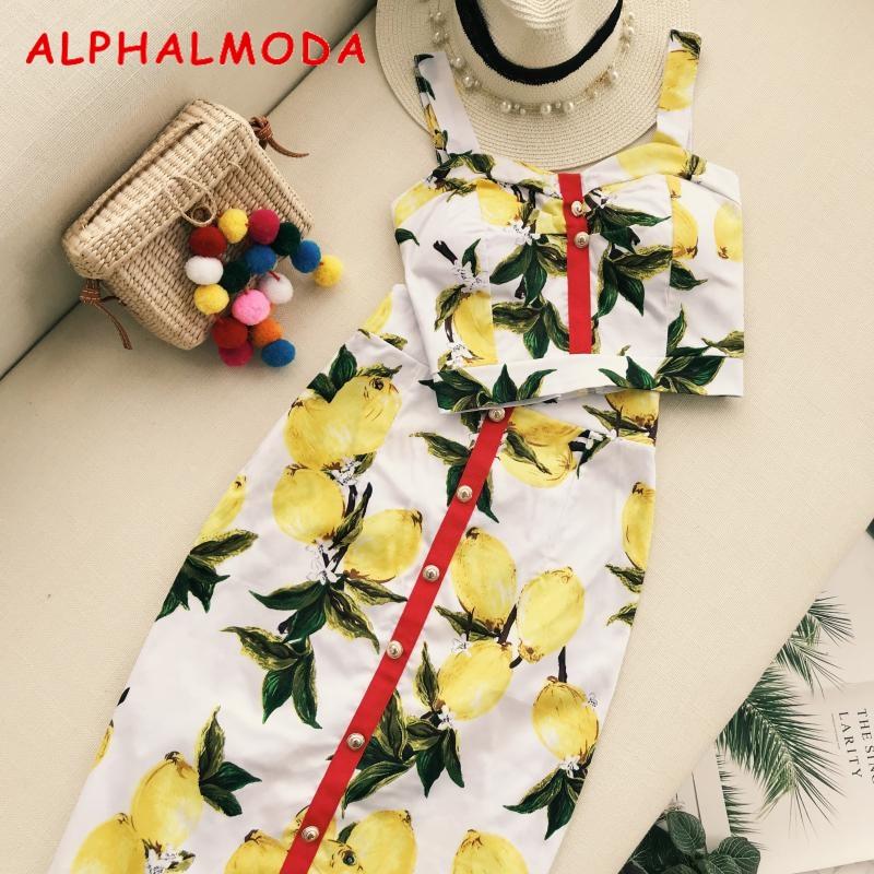 >ALPHALMODA Summer Women Fashion Skirt Set Pineapple Printed <font><b>Tank</b></font> <font><b>Top</b></font> <font><b>High</b></font> Waist Step Skirt Female Holidays Skirt Suits
