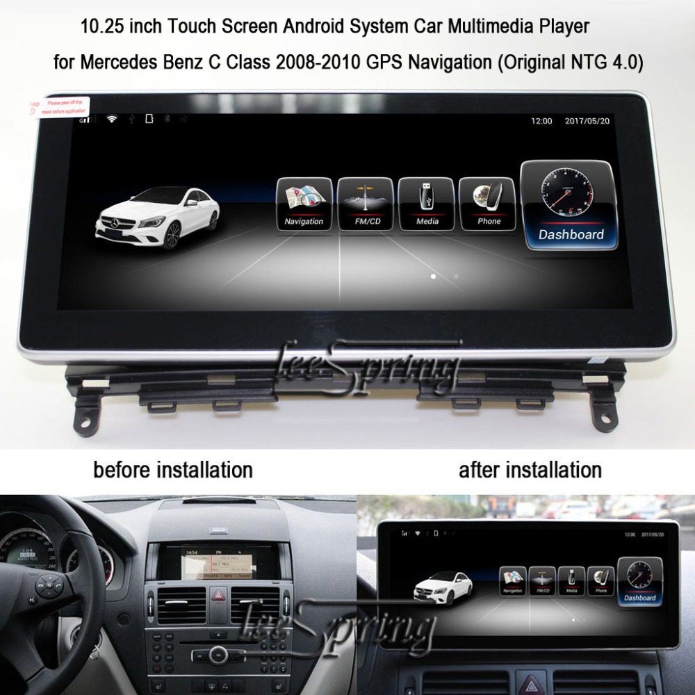 10.25 inch Android 6.0 GPS Navigation for Mercedes Benz C Class 2008 2010 MB W204 C200 C260 C180 Car Multimedia Player(NO DVD)