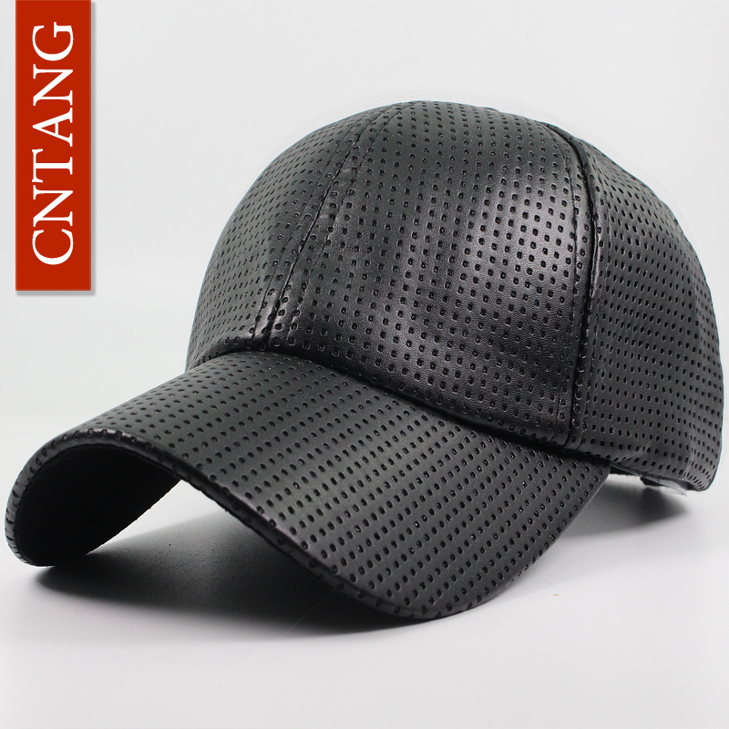 цены CNTANG Fashion Autumn Winter PU Leather Baseball Cap Men Hip Hop Brand Hat Casual Caps For Women Snapback Vintage Hats Unisex