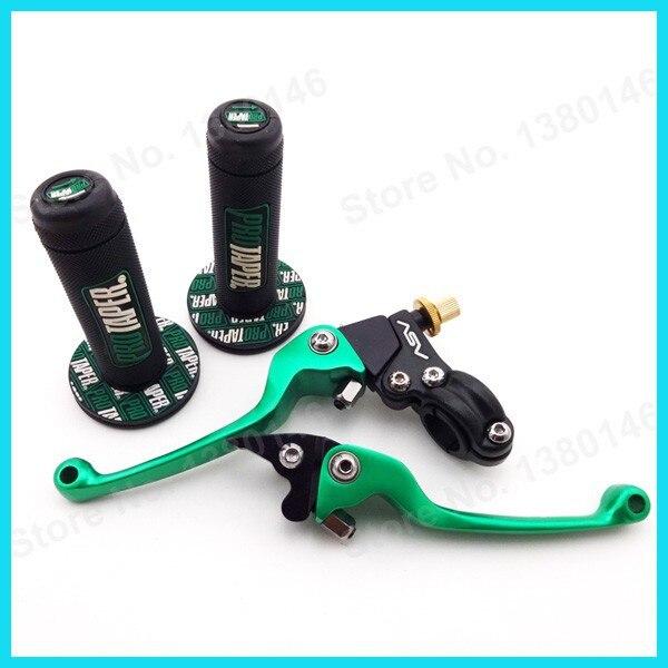 Дроссельная заслонка ручные рукоятки зеленый ASV складывающаяся муфта тормозной рычаг для CRF KLX XR TTR YZF MX Мотокросс Грязь велосипед ямы мотоцикл