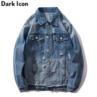 Dark Icon Ripped Siderophere Jeans Jacket Men Turn down Collar Denim Men's Jackets Hip Hop Jackets