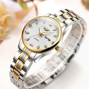Image 3 - GUANQIN Fashion Couple Watch Set Stainless Steel Men Women lovers Watch Luxury Blue Quartz Watch Women Clock Ladies Wrist Watch