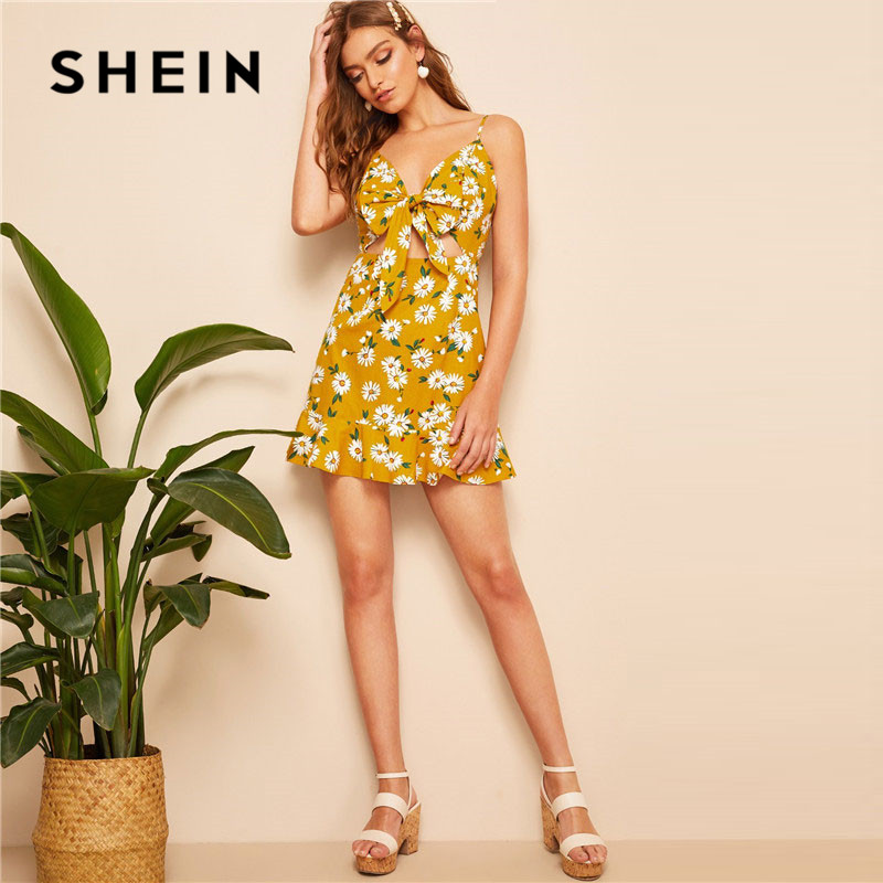 53dcd3884d Aliexpress.com : Buy SHEIN Ginger Bow Front Ruffle Hem Floral Print Slip  Boho Dress Women Summer Deep V Neck Spaghetti Strap Cotton Mini Dress from  Reliable ...