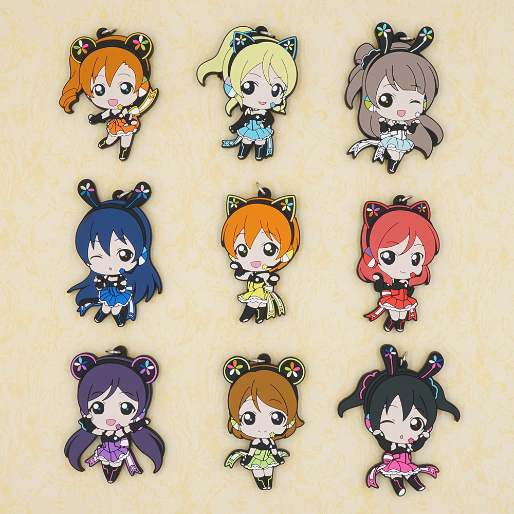 Minami Kotori Nico Eli Rin Umi Maki Tojo Nozomi Hanayo Honoka Anime Love Live! Lovelive! PCGA Version Rubber Keychain anime lovelive cosplay minami kotori cos2017 new japanese male and female middle school students big picture shoulder bag
