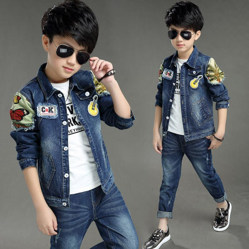 Anlencool Baby boys sets 2017Children's clothing spring and autumn male child baby denim set children clothes free shipping стоимость