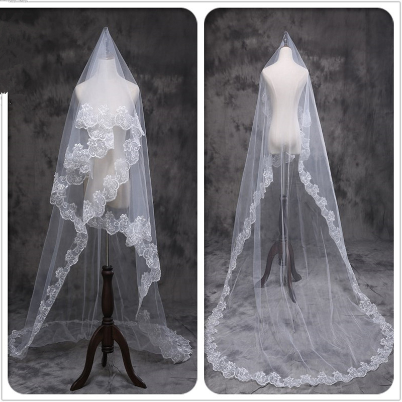 Walk Beside You Wedding Veils 3 m Lace Applique One Layer Accessoire Mariage Long Cathedral Bride Veils