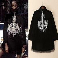 High Quality Woman Summer Dress Full Sleeve Solid Streetwear Loose Clothes Diamonds Velvet Black Dress Above