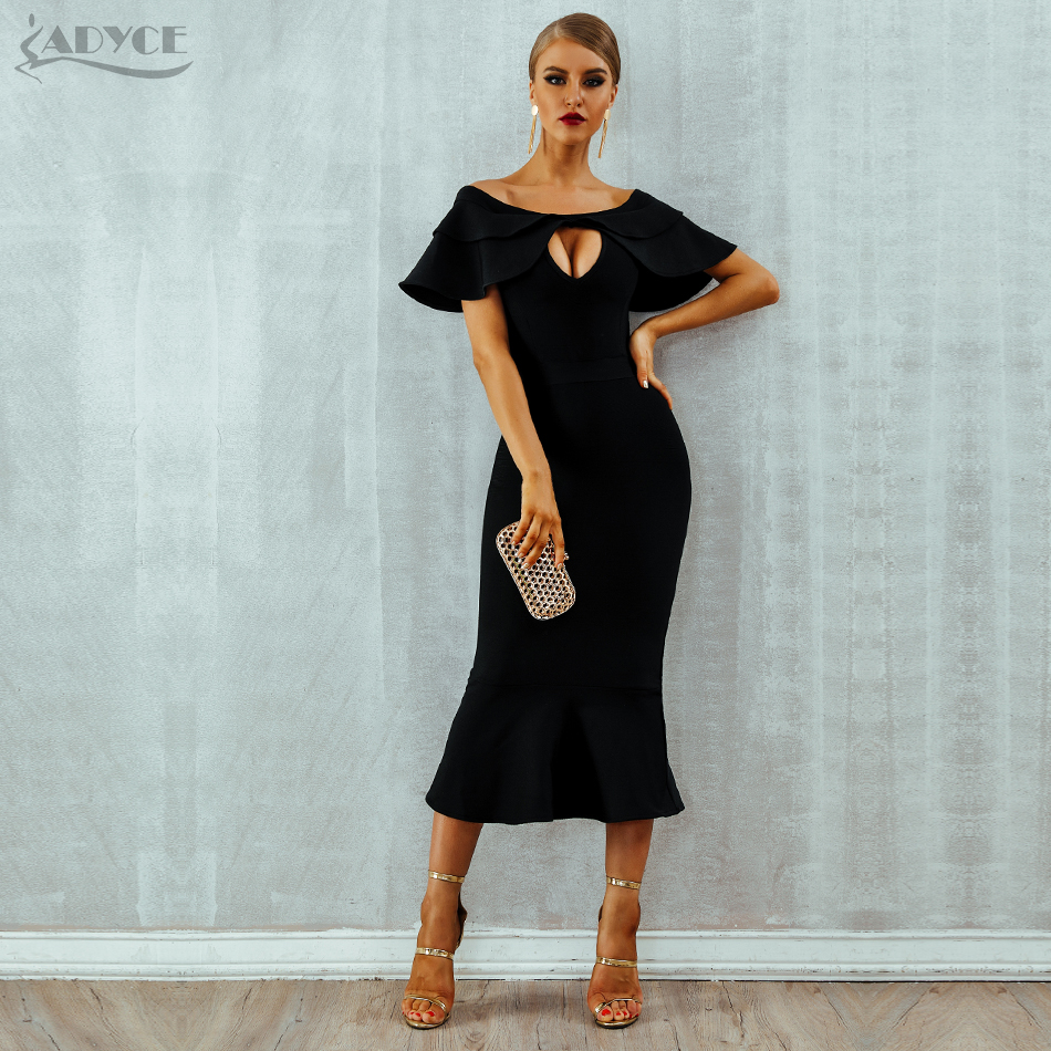 Adyce 2019 New Summer Women Bandage Dress Vestido Cut Out Black Sexy Mermaid Club Dress Slash