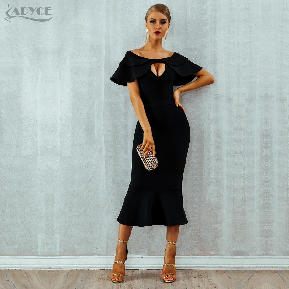 Dresses Orderly High Quality Slash Neck Knee Length Bodycon Rayon Bandage Dress Elegant Party Bodycon Dress