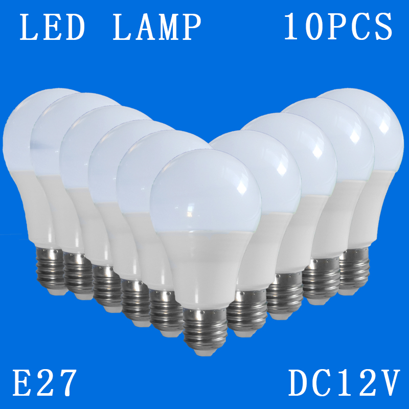 10pcs/lot DC12V E27 Led Lamps Cool White Down Lights Home Globe Interior Lighting 3w 5w 7w 9w 12w 15w Replacement Bulbs Camping