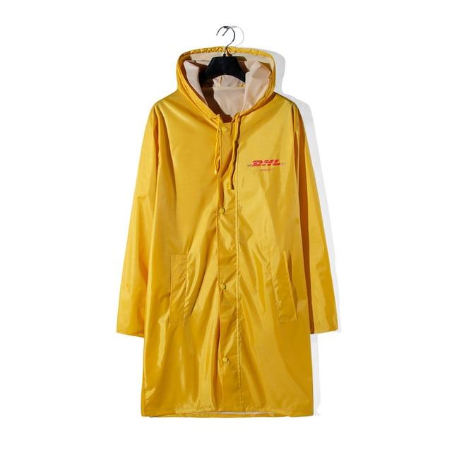 2018ss Vetements Dhl Print Yellow Raincoat Jacket Coat Hiphop