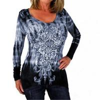 2018 frauen Casual T-Shirts Damen Langarm O Neck Tops Digital Gedruckt T-shirt Weibliche Frauen Kleidung S-5XL WS7473W