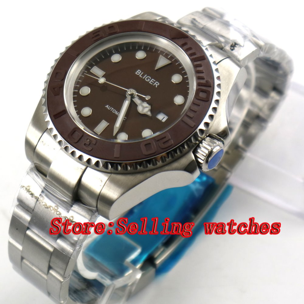 44mm Bliger coffee Dial Ceramic bezel Sapphire Crystal Automatic Movement Men's Mechanical Wristwatches 44mm bliger gray dial blue ceramic bezel sapphire crystal automatic movement men s mechanical wristwatches