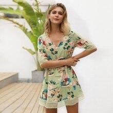 BEFORW 2019 Summer Casual Short Sleeve Dress Boho Floral Print Beach Dresses Women Clothes Sexy Mini Party Vestidos