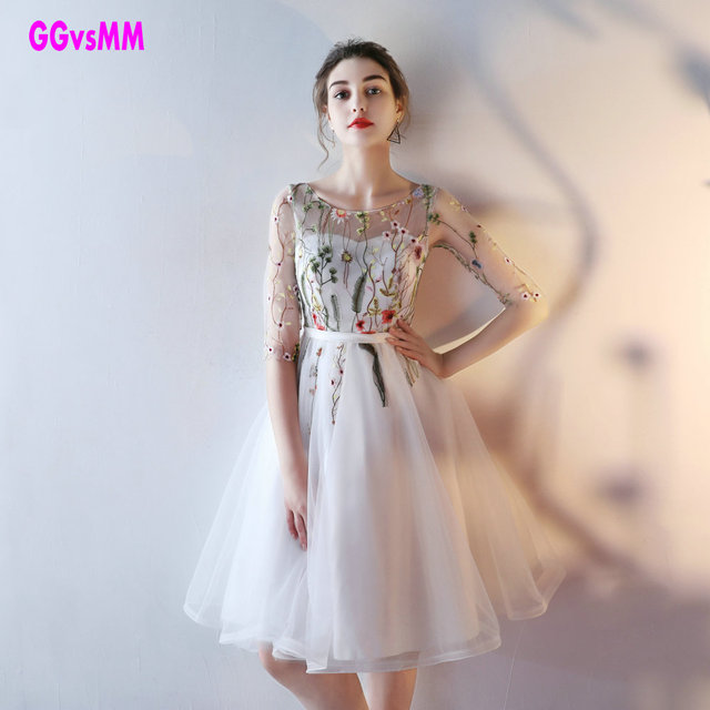 Fast Shipping Cheap Women Ivory Short Prom Dresses 2019 Sexy Black Prom Dress Scoop Tulle Embroidery Lace Up Evening Party Gown 1