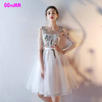 Real Picture Ivory Cocktail Dresses Robe De Cocktail Scoop Tulle Appliques Sexy Party Gown A Line