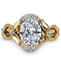 Vintage European EDI 9K Yello Gold Engagement Ring Art Deco 1.5CT Oval Cut  Simulated Diamond Vintage Gold Women Diamond Ring