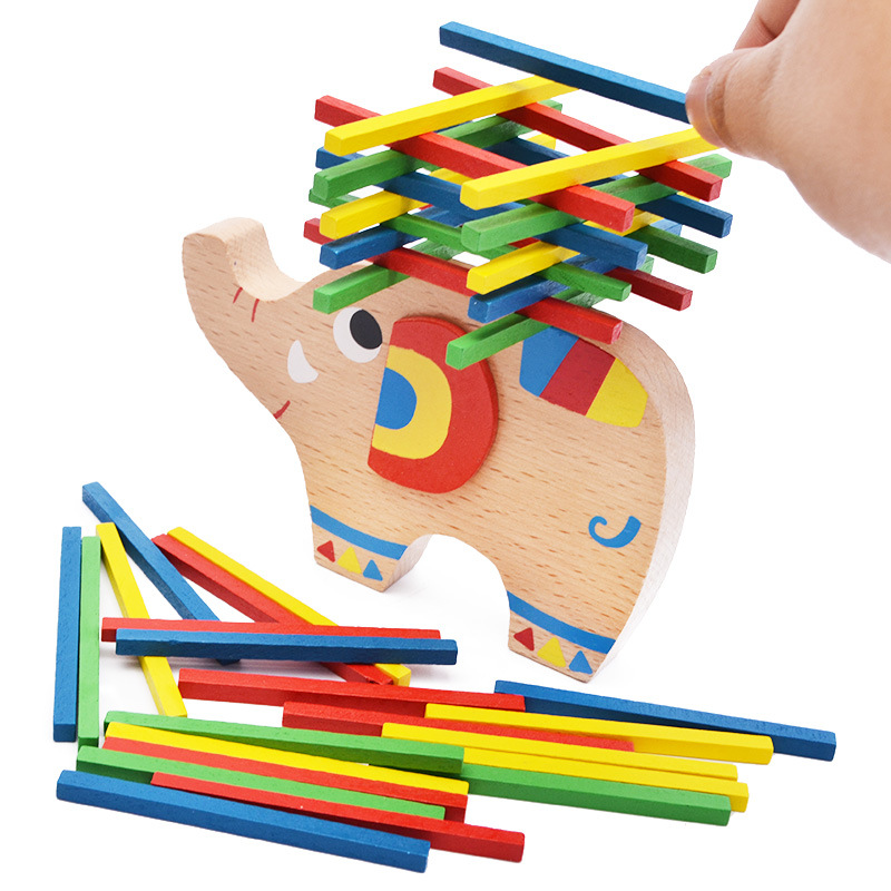 Free shipping Wooden blocks children elephant game balance font b toy b font Board role playing