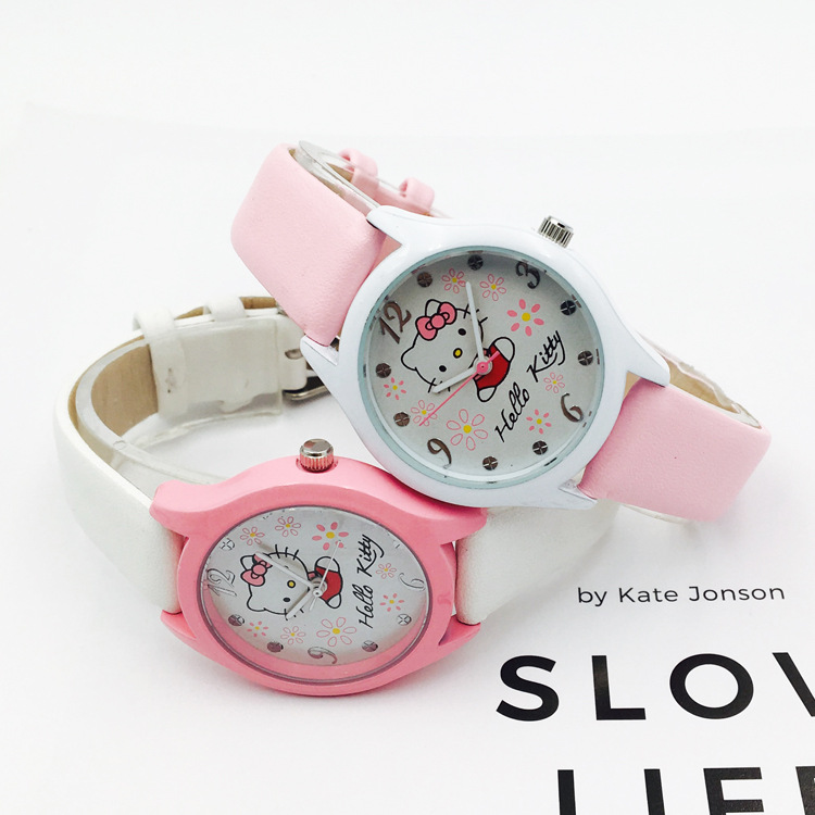 Children's cartoon hello Kitty watches the cute girl students watch girls fashion girls watch waterproof quartz watch(China)