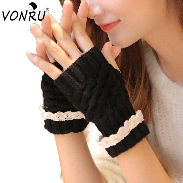 Mujeres guantes de punto femenino suave del cordón del ganchillo ...