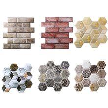 10 قطعة الجدار ملصق مائي ثلاثية الأبعاد المضادة للتصادم الجدار ملصق للإزالة البلاستيكية غير النظامية لوحة جدار من الطوب الديكورات الفنية