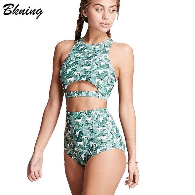 cfa510148aefc Bkning High Waisted Bikini Set Forest Leaves Print Bikinis Cut Out Swimsuit  High Neck Swimwear Women