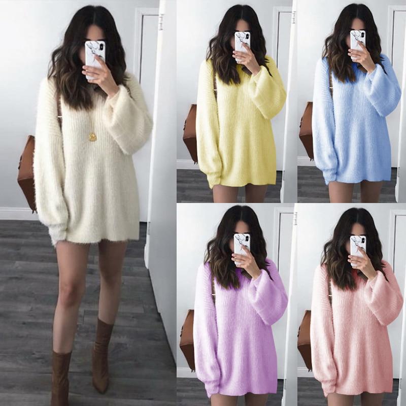 Fall Winter 2019 New Long Sleeve Woman Knitted Sweater Round Neck Plus Size Women Sweaters Korean Sweater Women Sweater XX006