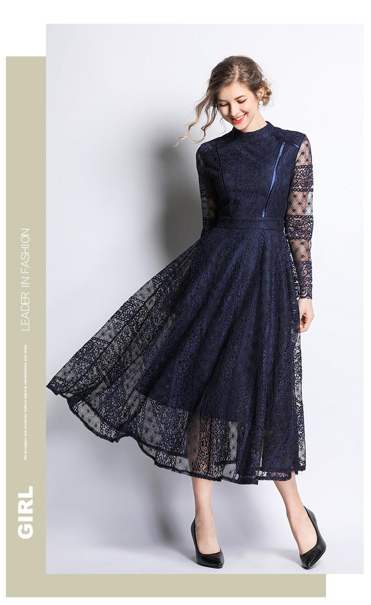 Dark Blue Lace Long Sleeve Retro Dress 4