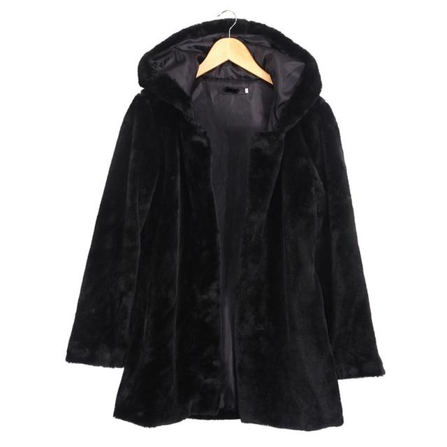 2016 Hiver Femmes À Capuche En Fausse Fourrure Manteau De Mode Chaud à manches longues Lâche Noir Manteau Femelle Flocage Coton Veste Manteau plus la Taille