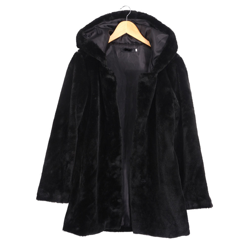 2016 Winter Women Hooded Faux Fur Coat Fashion Warm Long sleeved Loose Black Coat Female Flocking