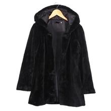 2016 Winter Women Hooded Faux Fur Coat Fashion Warm Long-sleeved Loose Black Coat Female Flocking Cotton Jacket Coat Plus Size
