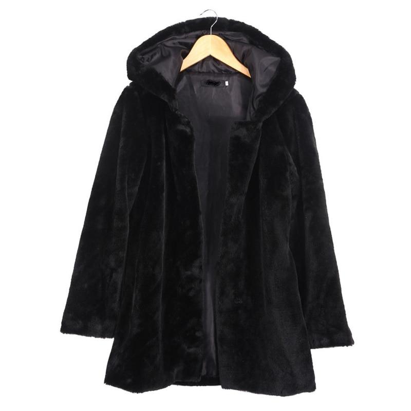 2018 Winter Women Hooded Faux Fur Coat Fashion Warm Long sleeved Loose Black Coat Female Flocking
